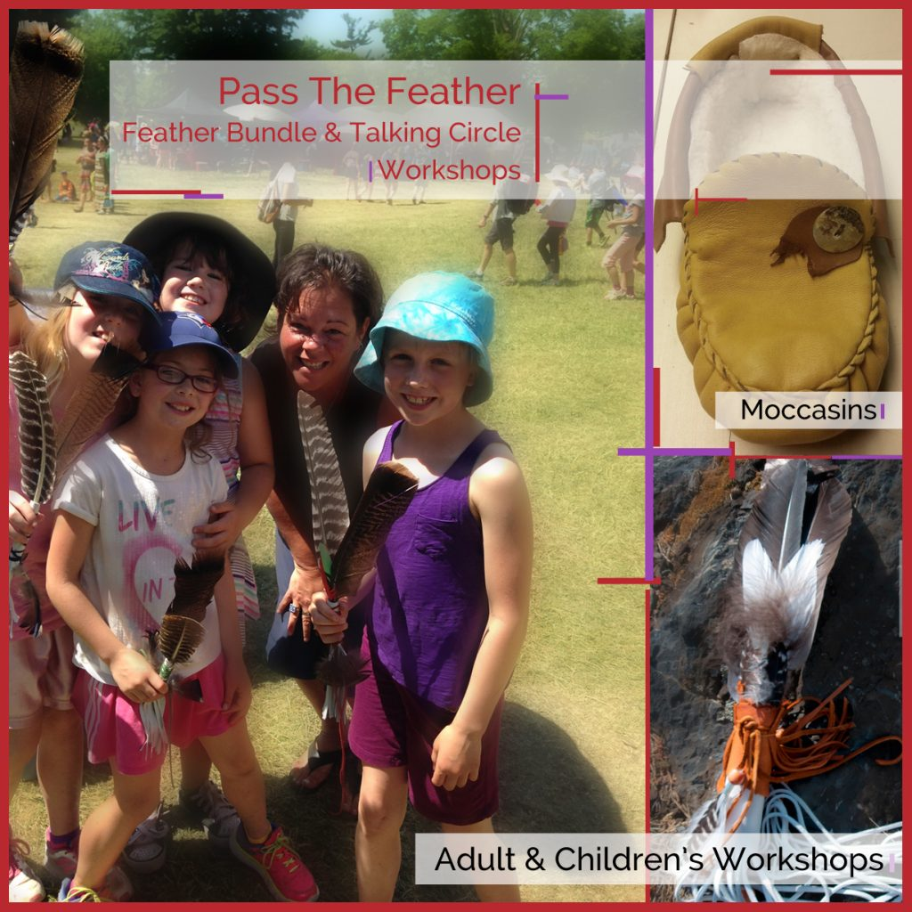 kidsworkshops, feather bundle workshops, smudge feathers, pass the feather,