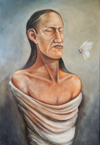 Deron Ahsén:nase Douglas, painter, painting, Indigenous Artist, First Nations, Indigenous Arts Collective of Canada, Pass The Feather
