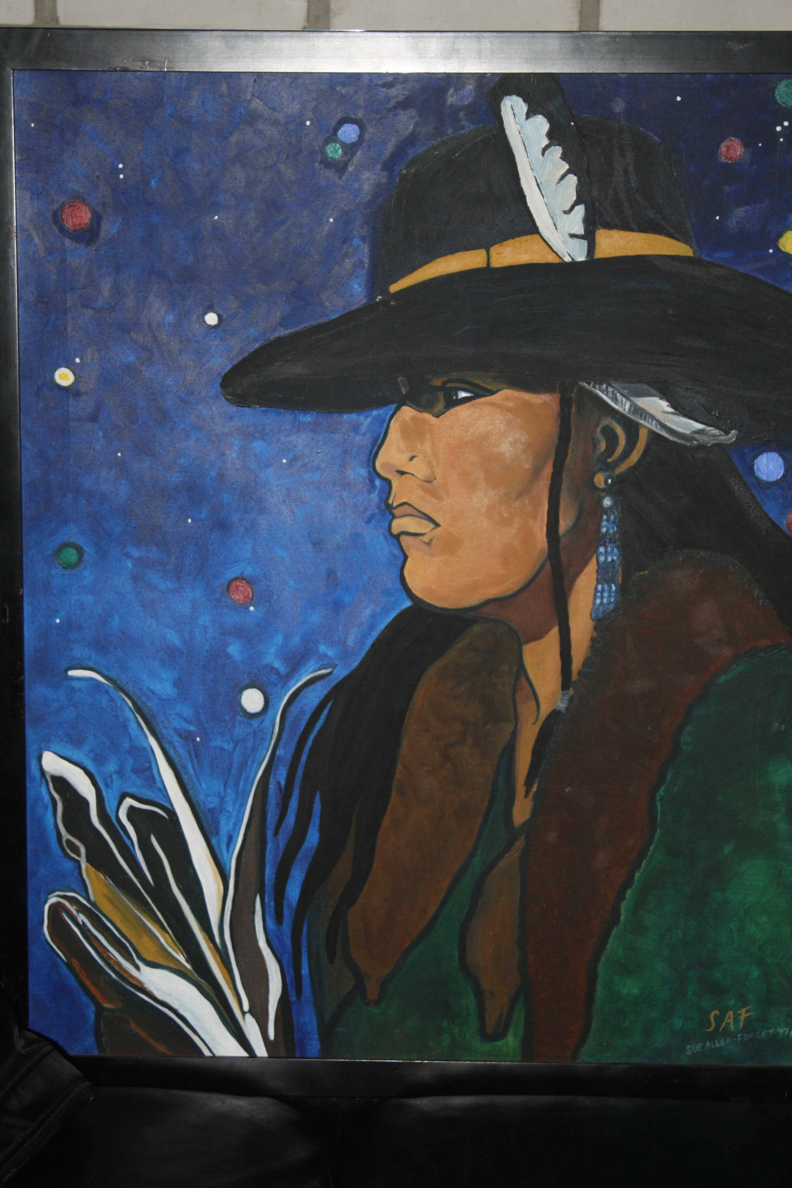 Sue Forget, painter, pass the feather, first nations art