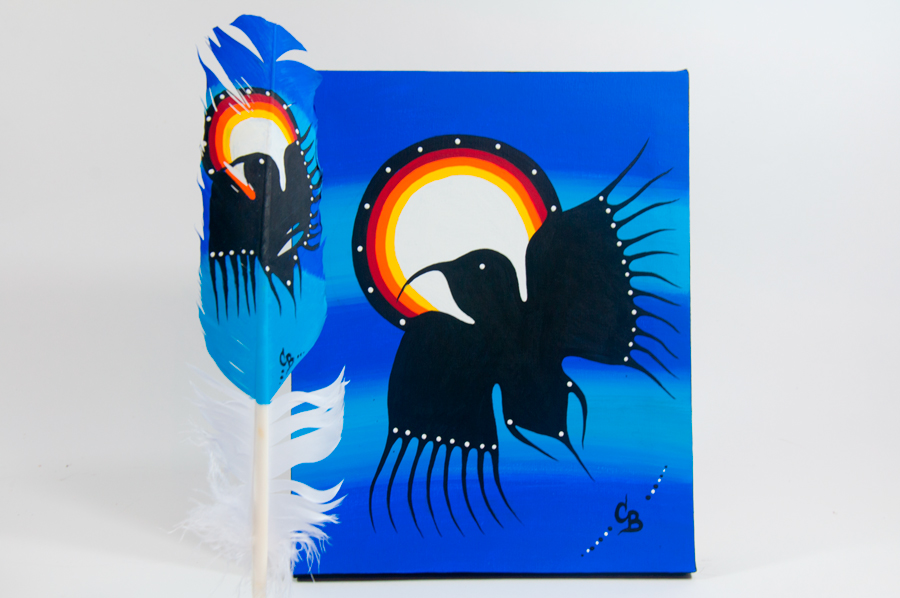 Chelsea Brooks, painted feathers, aboriginal arts collective of canada, pass the feather, feather art, aboriginal artwork, bird painting