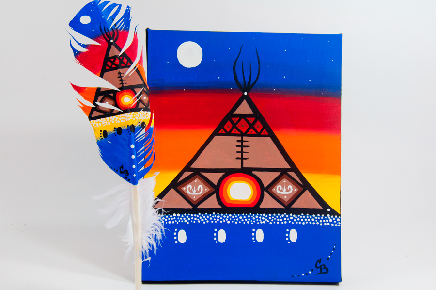 Chelsea Brooks, painted feathers, aboriginal arts collective of canada, pass the feather, feather art, aboriginal artwork, tipi painting