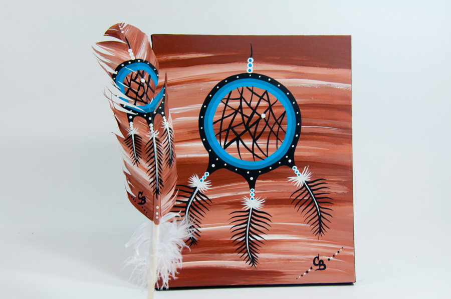 Chelsea Brooks, painted feathers, aboriginal arts collective of canada, pass the feather, dream catcher painting, feather art, aboriginal artwork