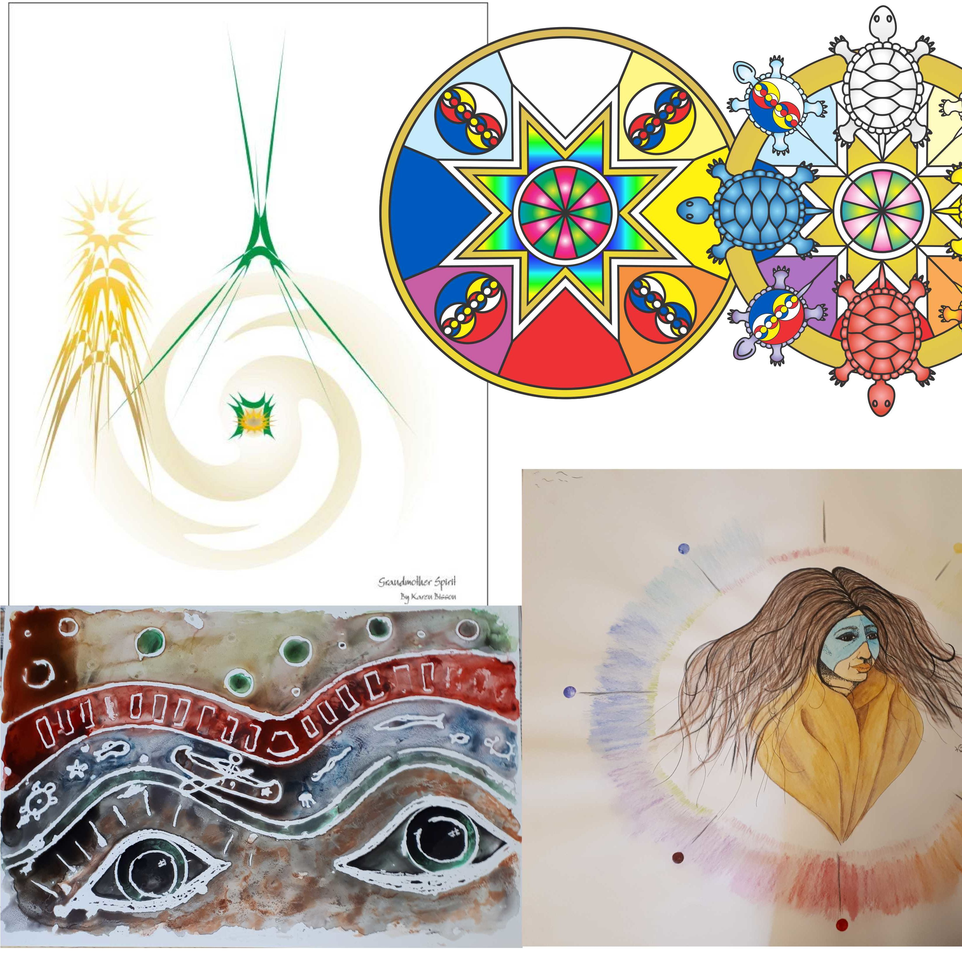 Karen Bisson, art collage, artist, jewelry, drawing, painting, pass the feather, aboriginal arts and collective