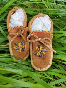 Rachel Volkmann, beadwork, beader, crafts, craft maker, featherwork, jewelry, jewelry maker, mobiles, moccasins, Indigenous Artist, First Nations, Indigenous Arts Collective of Canada, Pass The Feather