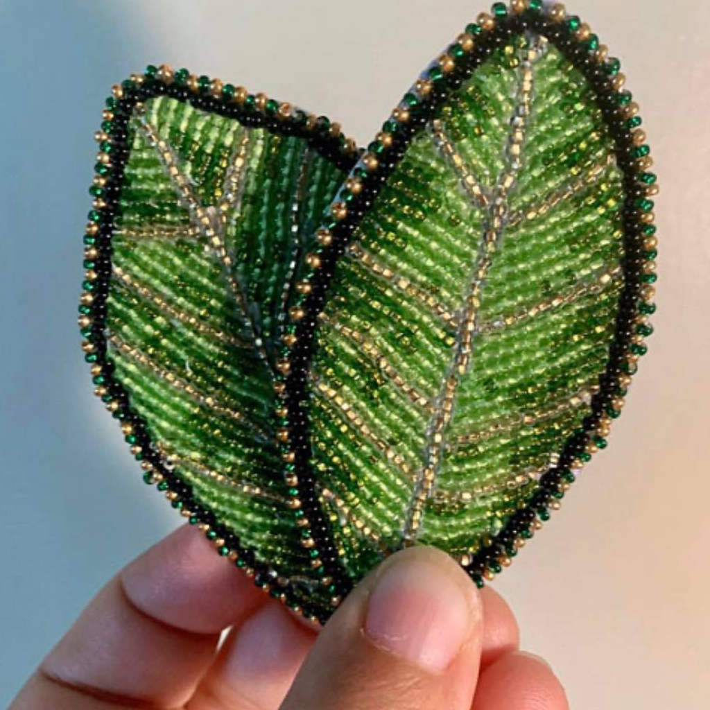 Caitlyn May, beadwork, beader, patches, jewelry, jewelry maker, Indigenous Artist, First Nations, Indigenous Arts Collective of Canada, Pass The Feather