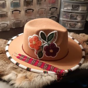 Staci Duchene, beadwork, beader, quillwork, hats, Indigenous Artist, First Nations, Indigenous Arts Collective of Canada, Pass The Feather