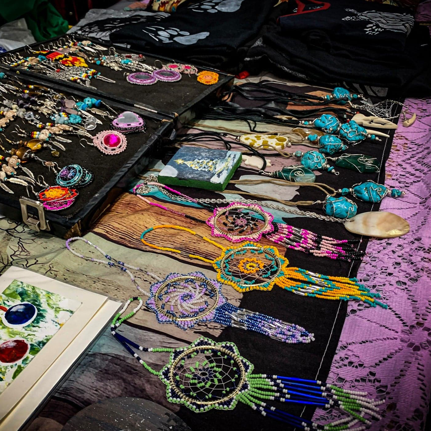 Melanie Montour, Native Artisan Designs, beadwork, beader, jewelry maker, jewelry, leatherwork, mixed media, painting, painter, regalia, stone carver, carving, crafts, craft maker, Indigenous Artist, First Nations, Indigenous Arts Collective of Canada, Pass The Feather