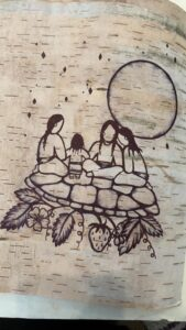 Kaity Shisheesh, drawing, birch bark, Indigenous Artist, First Nations, Indigenous Arts Collective of Canada, Pass The Feather