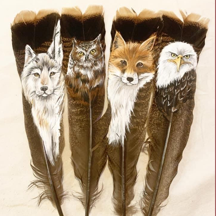 Jessica Somers, painter, painting, feathers, woodwork, Indigenous Artist, First Nations, Indigenous Arts Collective of Canada, Pass The Feather