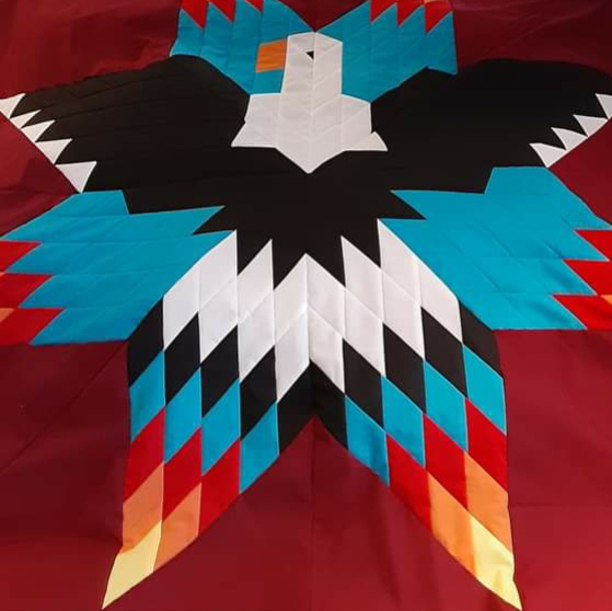 Andrea Sparvier, Star quilt, ribbon skirts, moss bags, jewelry, Indigenous Artist, First Nations, Indigenous Arts Collective of Canada, Pass The Feather