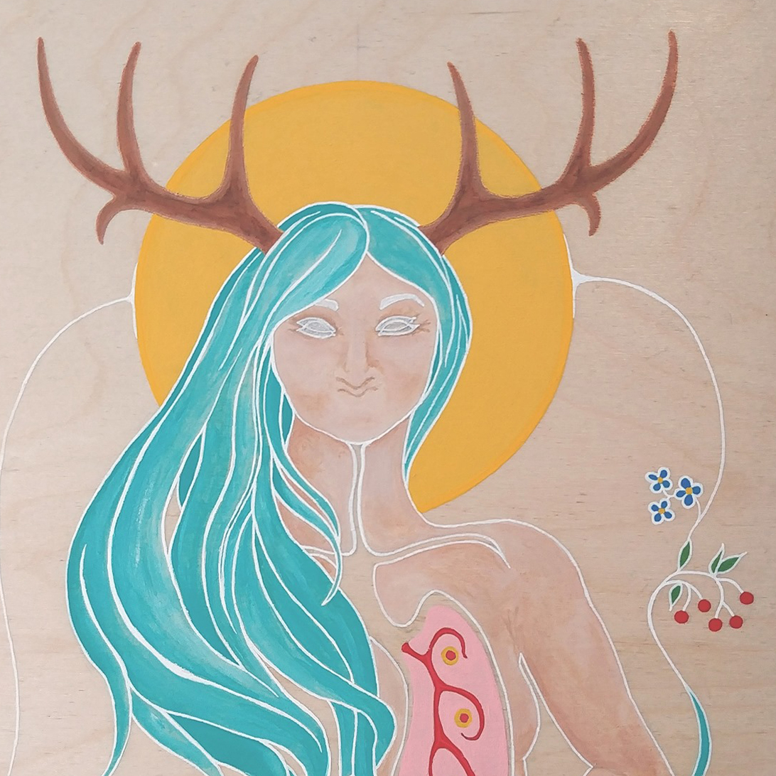 Adrienne Assinewai, Paint, fiber, textile, digital art, visual arts, Indigenous Artist, First Nations, Indigenous Arts Collective of Canada, Pass The Feather