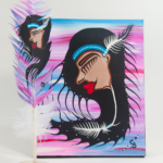 Chelsea Brooks, painted feathers, aboriginal arts collective of canada, pass the feather, feather art, aboriginal artwork, woman painting