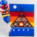 Chelsea Brooks, painted feathers, aboriginal arts collective of canada, pass the feather, feather art, aboriginal artwork, tipi painting, teepee painting