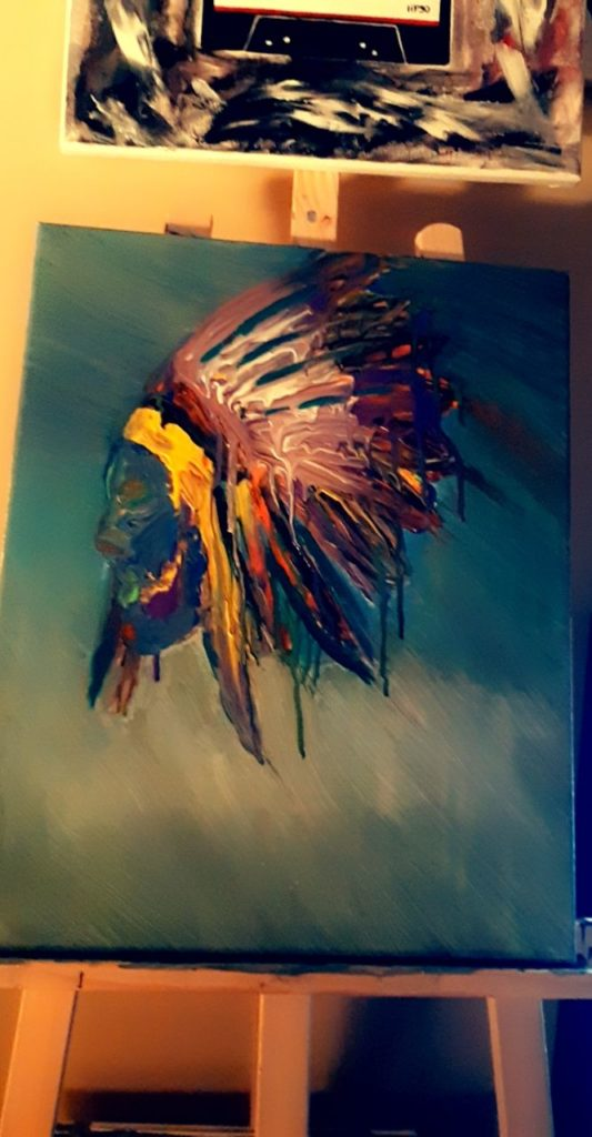 Jeunesse Stoney, painter, painting, Indigenous Artist, First Nations, Indigenous Arts Collective of Canada, Pass The Feather
