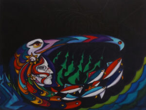 Don Chase, Paintings, Acrylic, paper, sculpture, multimedia, Indigenous Artist, First Nations, Indigenous Arts Collective of Canada, Pass The Feather