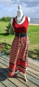 Lisa Poulin, Apparel, Ribbon Skirts, Tote Bags, Indigenous Artist, First Nations, Indigenous Arts Collective of Canada, Pass The Feather